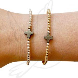 Pyrite Cross Bracelet